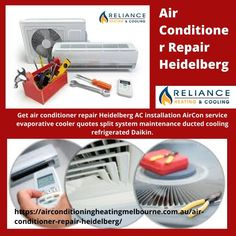 Get air conditioner repair Heidelberg AC installation AirCon service evaporative cooler quotes split system maintenance ducted cooling refrigerated Daikin.