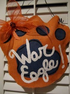 War Eagle Burlap Door Hanging/ Door Decoration by nursejeanneg, $28.00