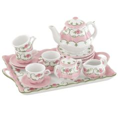Pink Tin Tea Set Complete With Pink Basket By Delton