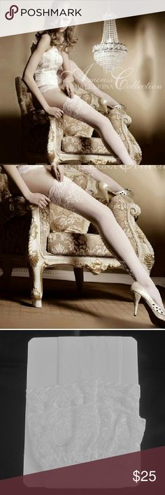 "Women Stocking, tights, & pantyhoses Studio Collant ballerina ""AMOUSS-JEMEY""  refined stockings with an elegant embroidery lace at the thigh and fown the back of the leg. Studio  Callants Ballerina Accessories Hosiery & Socks"