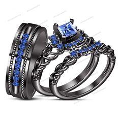 Princess & Rd Cut Blue Sapphire 14k B/Gold Finish Bride & Groom Trio Ring Set $$ #WeddingEngagementAnniversaryBrithdayGiftGift