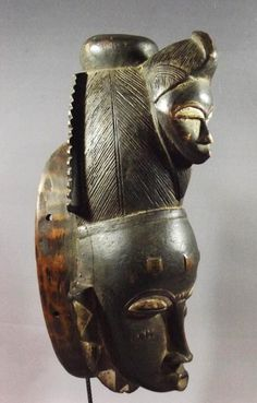 Africa | Baule mask from the Ivory Coast | Carved wood | ca. mid to last quarter of the 20th century