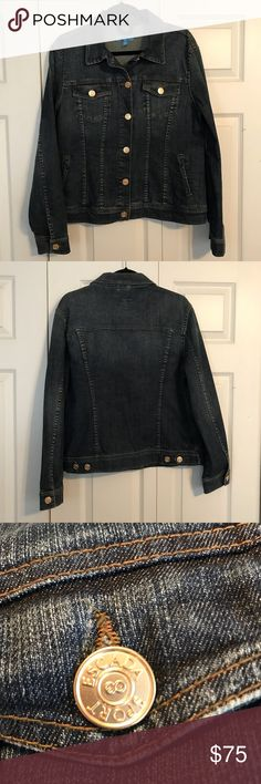 """ESCADA SPORT NWOT Jean Jacket Size 42 Dark Wash ESCADA SPORT NWOT Jean Jacket Size 42 Dark Wash. Beautiful ESCADA Sport gold buttons bring a hint of bling to this versatile piece.   21"""" underarm to underarm when laying flat  24"""" from center top back (just below collar) to hem   Tag has red ink over label (was bought at Eacada sale in NYC)   From smoke free home  Discount for bundling. Make an offer! ❤️ Eacada Sport Jackets & Coats Jean Jackets"""