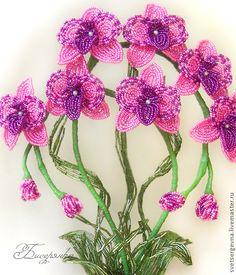 Вы можете Купить Орхидея РОЗОВАЯ, цветы из бисера. Интерьерная композиция. Сделаю  на заказ.  #бисерный #Светлана бисерянка #дерево #бонсай #цветы #бисер #флористика #украшение #интерьер #роза #лилия #орхидея