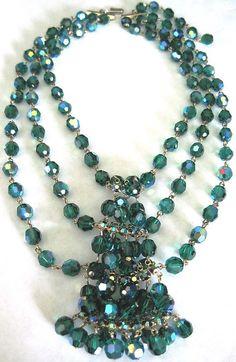 HOBE Amazing Green Crystal & Rhinestone Dangling Festoon Necklace