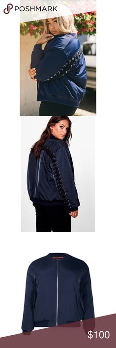 New Lace Up Bomber Jacket Super warm and stylish bomber jacket! This has extra insulation and oversized lace up detail to make it a unique bomber jacket. Features clip-button pocket and super soft interior lining. Jackets & Coats
