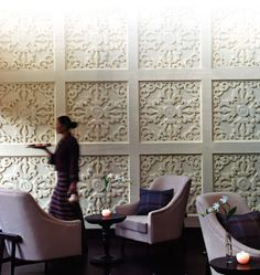 """Rafi suggestion: """"replicate with budget friendly tin ceiling tiles placed on walks and painted."""""""