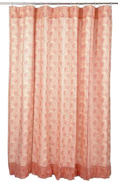 Soft Pink Cotton Floral Shower Curtain Ruffled Hem - Genevieve Collection #VictorianHeart