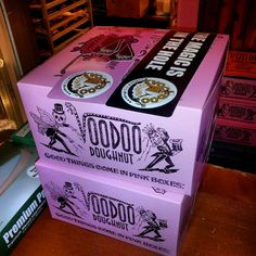 """Voodoo Donuts - Portland, Oregon.  Their slogans: """"Good things come in pink boxes"""" and """"The magic is in the hole"""""""