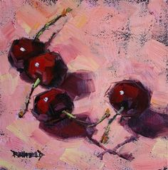 Cherries On Pink - Original Fine Art for Sale - © Cathleen Rehfeld