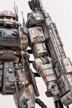 Revenge: MG Zaku Supplementary Story 'Maintenance' - Diorama Build Modeled by Coralblue Futuristic Robot, Japanese Robot, Star Blazers, Sci Fi Models, Gundam Art, Custom Gundam, Super Robot, Mechanical Design, Gundam Model