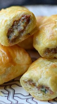 Puff Pastry Sausage Rolls-perfect for a snack or an appetizer at your holiday party! #DippIt in some Herlocher's!