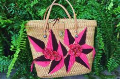 60s Vintage Straw Purse with Decorative Raffia Flowers and Embroidery, $22.99 by anything70s