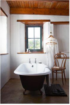 Wood and white bath.
