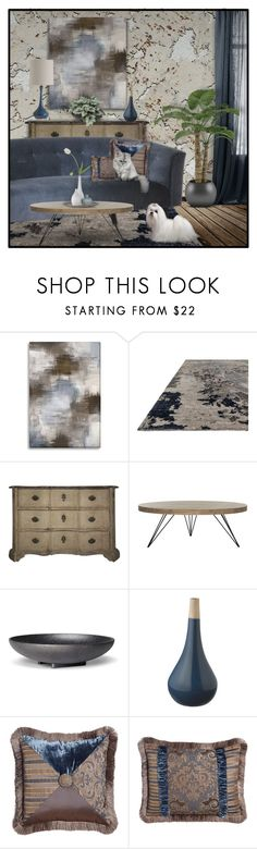 """Got the Blues for a Cork Wall"" by signaturenails-dstanley ❤ liked on Polyvore featuring interior, interiors, interior design, home, home decor, interior decorating, AmCork, West Elm, Safavieh and Grace"