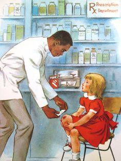 Vintage School Poster Pharmacist Druggist Illustrated Print Color 60s Pharmacy | eBay