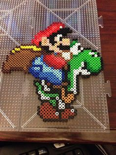 Super Mario and Yoshi Perler Bead Sprite by RatedEforEveryone, $15.00