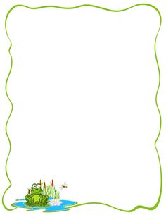 A page border featuring a cartoon frog on a lily pad. Free downloads at http://pageborders.org/download/frog-border/