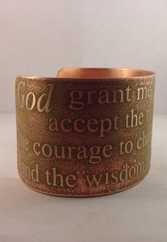 Serenity Prayer Etched Copper Cuff Bracelet - Inspirational Cuff on Etsy, $35.50