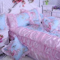 Amazon.com - DIAIDI Home Textile, Pink Satin Ruffle Bedding Set, Blue Floral Duvet Cover Bedding Set, 5/6Pcs