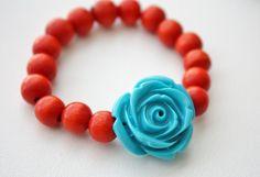 Resin Flower Bracelet for Girls. $5.50, via Etsy.