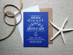 Nautical Rehearsal Dinner Invitations - Ocean-Inspired Rustic Modern Invites - Navy and White Invites via The Oyster's Pearl #wedding #invitation #beachwedding