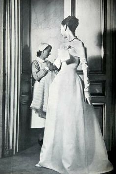 Harper's Bazaar April 1955 White organdy evening dress by Christian Dior Photo Louise Dahl-Wolfe