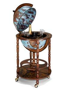 "Mobile Floor Globe Bar - Italian 16"" Diameter Replica, Blue Ocean"