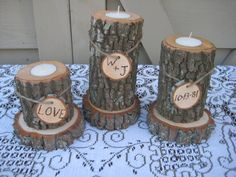 Custom Listing for Kyle Silver Rustic Wedding Decor Log Candle Holders Rustic Wedding Personalized. $20.95, via Etsy.