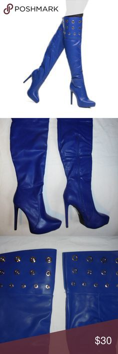 "New Scene blue over the knee heeled boots size 9.5 New no box Scene blue over the knee heeled boots size 9.5. Approximately 28.5"" tall. See other items for more designer and vintage clothing. Thank you. Scene Shoes Heeled Boots"