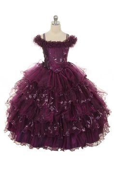 Rain Kids Stars Off Shoulder Pageant Dress Little Girls 2T-8