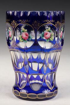 ART GLASS VASE - Bohemian Cobalt Cut to Clear Vase with : Lot 1043