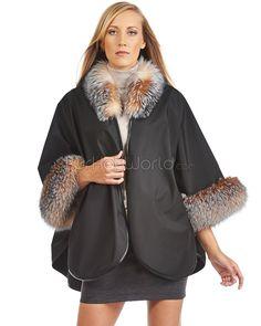 Khia Soft Shell Cape with Crystal Fox Fur Trim : FurHatWorld.com