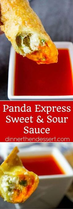 Panda Express Sweet and Sour Sauce is the perfect classic Chinese takeout dipping sauce that is bright red in color, sweet and acidic. The perfect dipping sauce for egg rolls, wontons and crispy wonton strips.