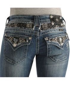 Miss Me Jeans #Miss_Me_Jeans #fashion #blue_jeans #love Miss Me Jeans Miss Me Jeans - Black and Silver-tone Stitched Inset Slim Fit