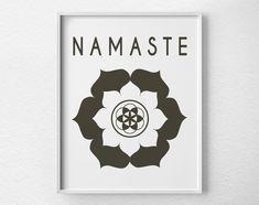 Namaste Lotus,Yoga Print, Yoga Studio Decor, Typography Poster, Wall Art, Inspirational Print, Yoga Poster, Motivational ArtNamaste LotusYoga Print Yoga Studio Decor by LotusLeafCreations, $12.00