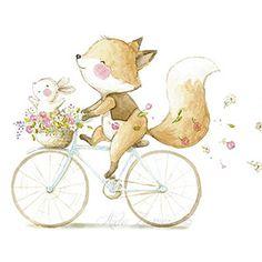 Ilustración infantil zorro en bicicleta