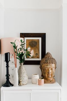 Global Inspired Home Tour Blush Lamp, Buddha Statue And Black Candlesticks - Theresa's Boho Inspired Four Bed Home. Blush, Black And Grey Living Room . Image By Adam Crohill. Decor, Room Design, Boho Living Room, Zen Decor, Apartment Decor, Meditation Room Decor, Buddha Home Decor, Living Room Designs, Buddha Bedroom