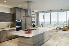 Contemporary Kitchen with Flush, complex granite tile floors, Kitchen island, Complex Granite, Breakfast bar, One-wall