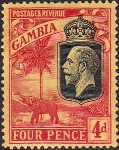 Gambia 1922 King George V Elephant SG SG 129 Fine Mint SG 129 Scott 108 Other Commonwealth Stamps Here