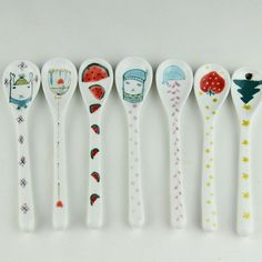 Wholesale 6pcs/set Creative Ceramic Hand Painted Spoons Cute Little Catering…