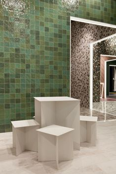 Emerald green decor tiles RIAAD GREEN 100x100mm tiles, available in South Africa from April 2019. Decobella tiles A multi tone of greens to enhance any house feature wall, including bathrooms, kitchens, living rooms or even hospitality specifications! #emeraldgreen #mottledgreen #greentiles #decobellatiles #walltiles #decortiles #ihavethisthingwithtiles #tilestyle #cevisama #tiletrends
