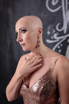 Dressed to kill. Bald Hairstyles For Women, Girls Short Haircuts, Cool Hairstyles, Pixie Cut, Short Hair Cuts, Short Hair Styles, Bald Head Women, Bald Look, Girls With Shaved Heads