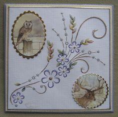 M.K - Uil en Hert Embroidery Cards, Cross Stitch Embroidery, Embroidery Patterns, Sewing Cards, String Art Patterns, Die Cut Cards, Card Patterns, Pattern Art, Hand Stitching