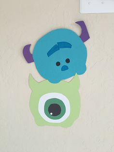 Construction paper Tsum Tsum decorations- Mike, Sulley