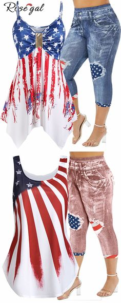 Rosgeal American Flag Cami Top and American Flag printed bottom ideas Sexy Outfits, Girl Outfits, Casual Outfits, Cute Outfits, Fashion Outfits, Trendy Plus Size Clothing, Plus Size Outfits, Plus Size Fashion, 4th Of July Outfits