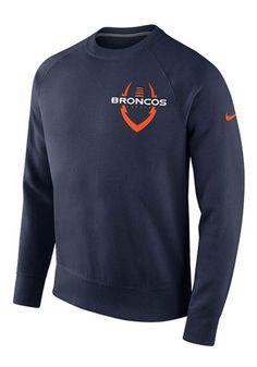 Nike Denver Broncos Mens Navy Blue Icon Club Sweatshirt
