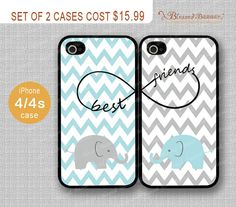 Best friends, infinity,Chevron cute elephant iPhone 4/4s Case, iPhone 4 Hard Plastic/Soft Rubber Case,iPhone 4 Covers, Personalized Case on Etsy, $15.99