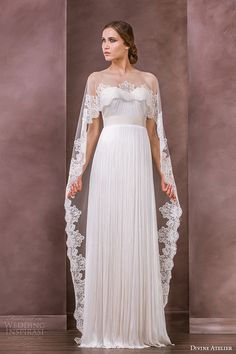 divine atelier wedding dress 2015 bridal sheer floor length lace helm bolero anida