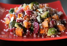 Fall Quinoa Salad with Poppy Seed Dressing Salad With Sweet Potato, Quinoa Sweet Potato, Roasted Sweet Potatoes, Sprouts Salad, Brussel Sprout Salad, Brussels Sprouts, Authentic German Potato Salad, Poppy Seed Dressing, Mexican Quinoa Salad